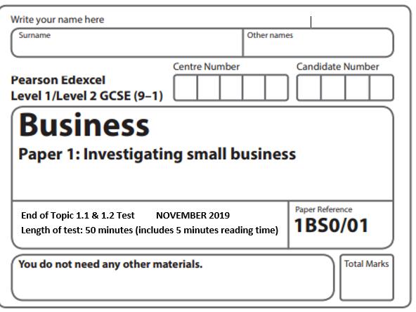 Edexcel GCSE Business 9-1 1.1 & 1.2 Assessment