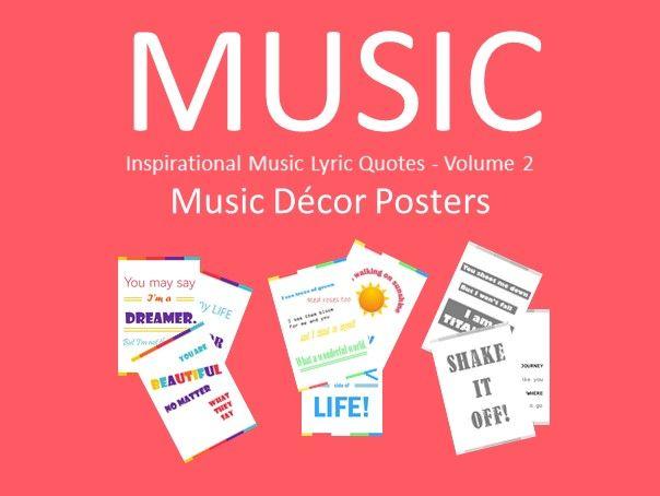 20 Inspirational Music Lyric Quotes - Volume 2 - Music Decor Posters