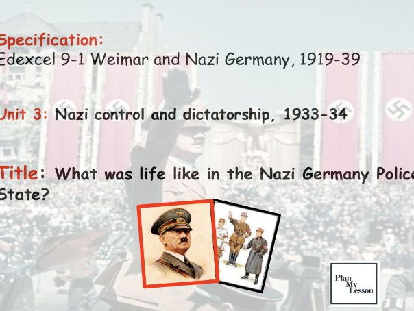 Edexcel 9-1 Weimar & Nazi Germany: L30a What was life like in the Nazi Police State?