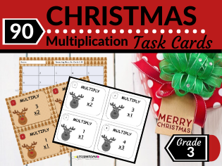 Christmas Math Task Cards-Multiplying Single Digit Numbers
