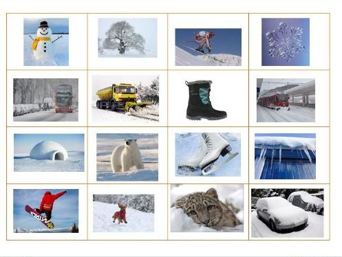 Winter Bingo!  16 snowy scenes for topical fun