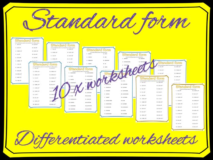 Standard form: Converting standard form worksheets