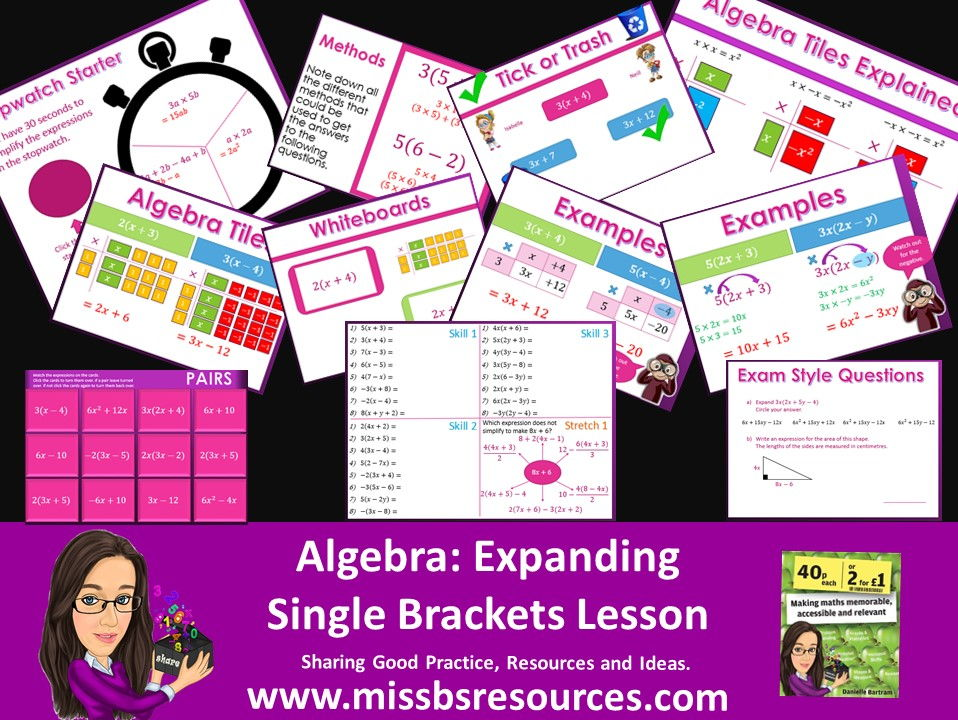 Expanding  Single  Brackets Linear Expression Full lesson & Answer Quizzes, Differentiated Worksheet