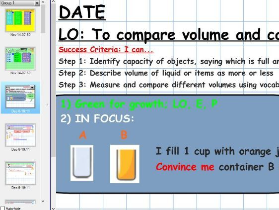YEAR 1: MATHS HUB - Week 1 Capacity & volume- 3 way differentiated - full, half-full and empty focus