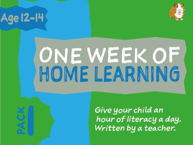 1 WEEK Of Literacy Distance Learning: Pack ONE (age 12-14 years)
