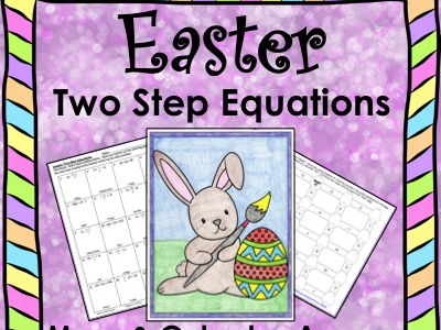 Solving Equations Spring Easter Math Two Step Equations Maze & Color by Number Bundle
