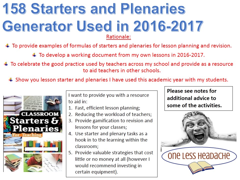158 Starter/Plenary Generator used in lessons in 2016/2017