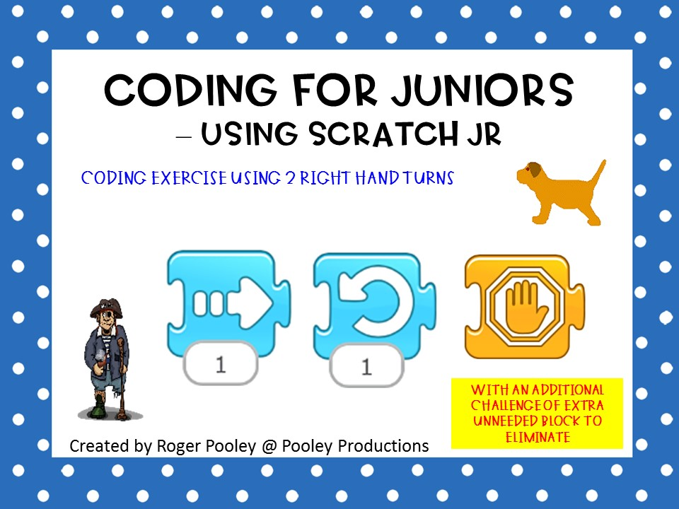 Coding for Juniors - Using Scratch Jr, making turns, with 1 block too many Challenge