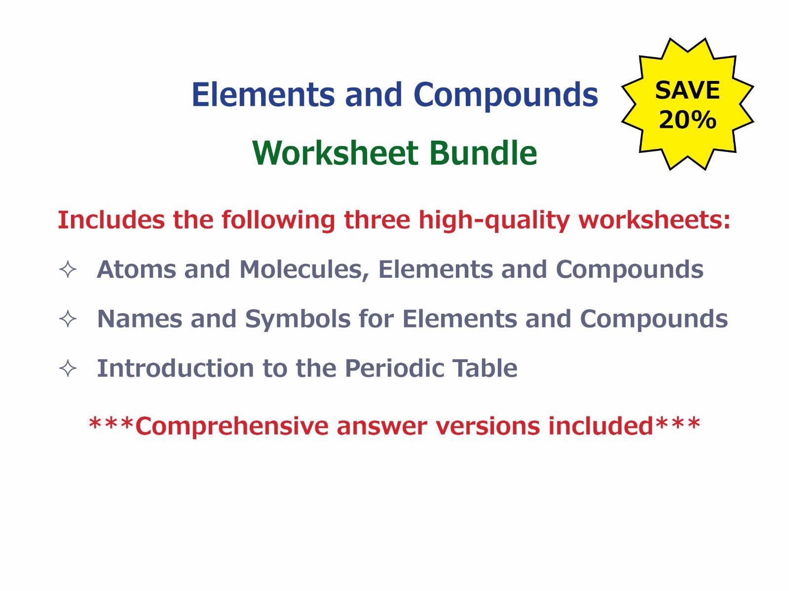 Atoms and Molecules Elements and Compounds Worksheet by – Atoms and Molecules Worksheet