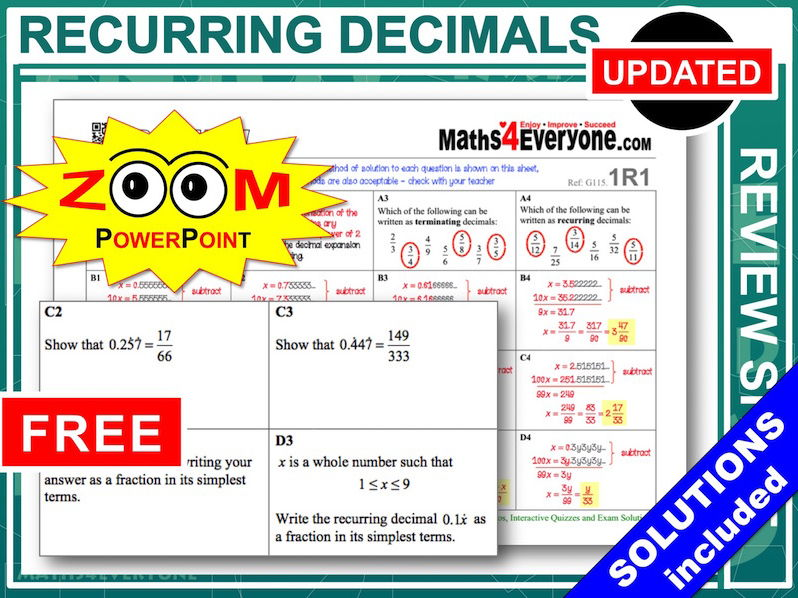 gcse revision recurring decimals by maths4everyone teaching resources. Black Bedroom Furniture Sets. Home Design Ideas
