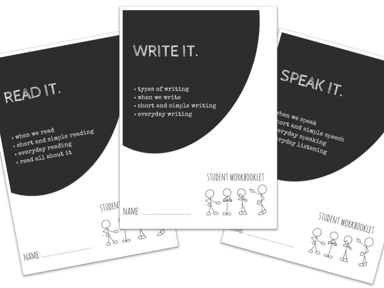 SPECIAL EDUCATION bundle - LITERACY - READ, WRITE, SPEAK x3 workbooklets