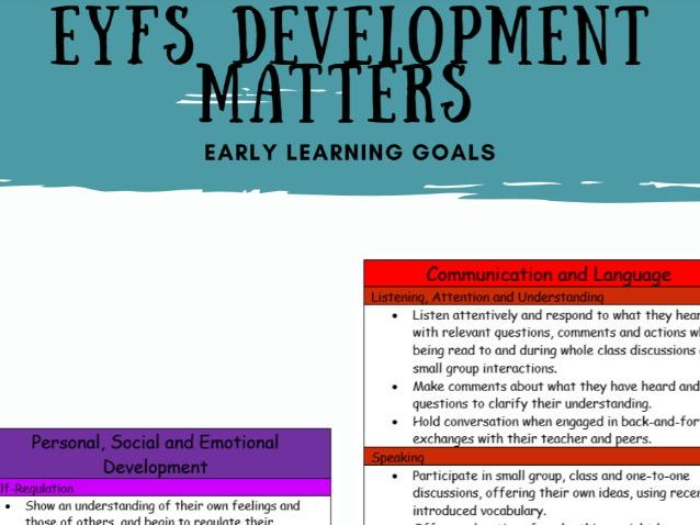 Development Matters Early Learning Goals (NEW 2021)