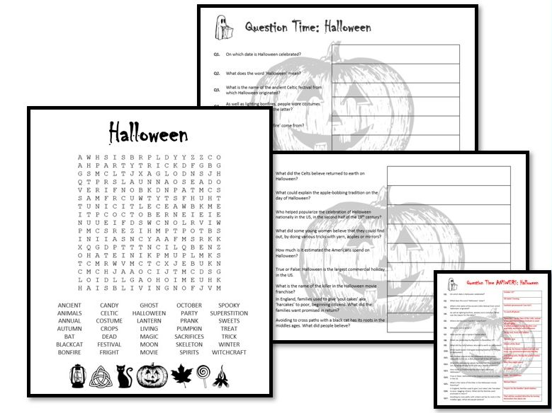 Halloween - wordsearch PLUS questions / research activity