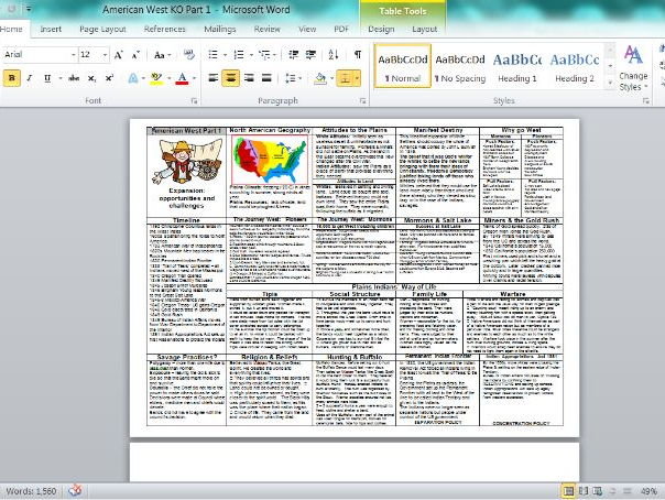AQA American West Part One Full Content on One Sheet Plus PowerPoint to use to complete