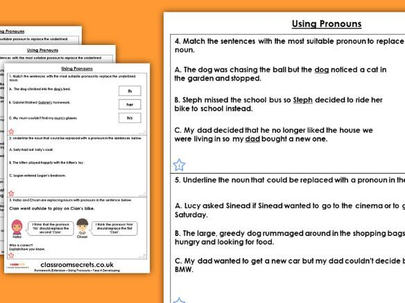 Grammar Year 4 Using Pronouns Autumn Block 2 Homework Extension