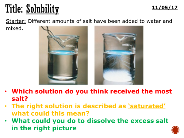Solubility - complete lesson (KS3)