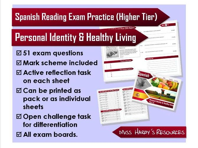 GCSE Spanish - Reading Exam Question Pack - Personal Identity & Healthy Living - All Exam Boards