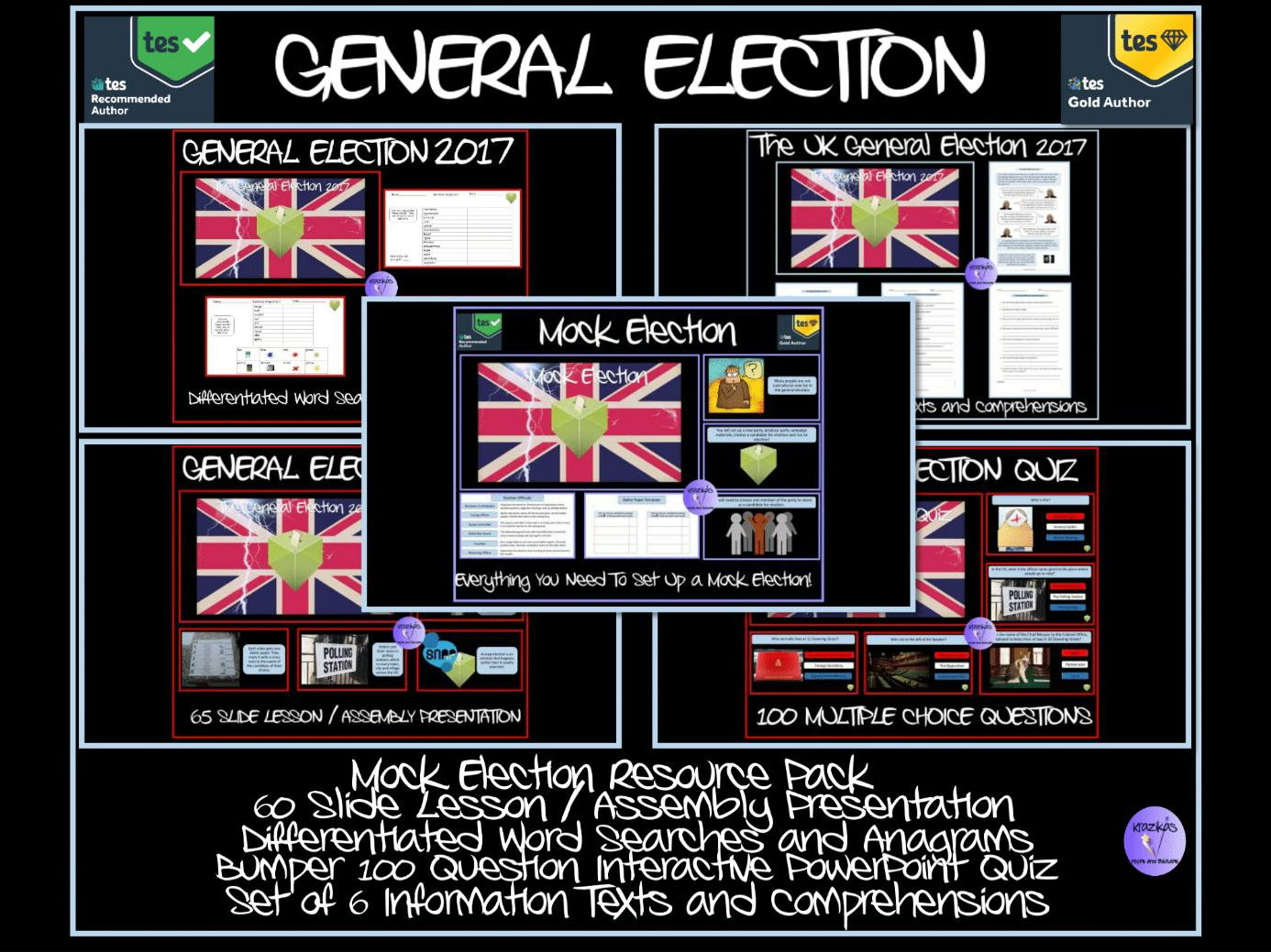 General Election 2017 Bumper Bundle - Two Lesson / Assembly Presentations,  Mock Election Pack, Election Quiz, Texts and Comprehensions, Anagrams and Word Searches!