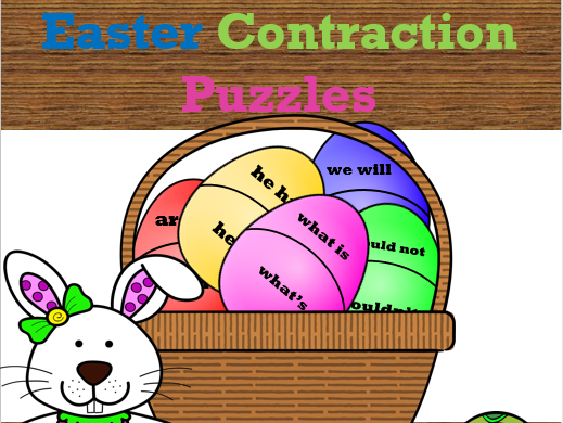 Contraction Easter Puzzles with worksheets