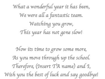 End of year leaving poem