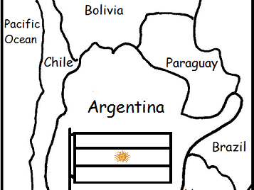 ARGENTINA - printable handouts with map and flag