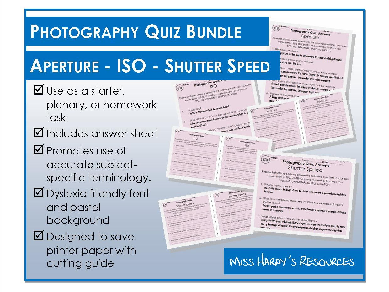 Photography Quiz Bundle - Aperture, ISO, and Shutter Speed
