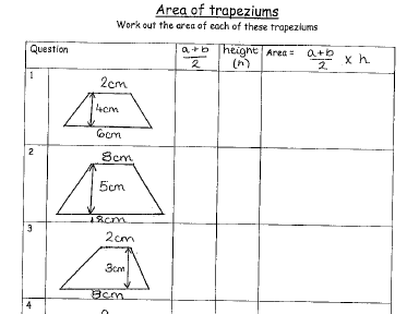 Area of a Trapezium Structured Worksheets