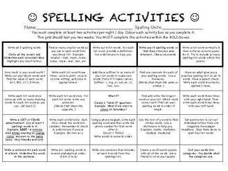 spelling activities for homework lower ability by darrenmoynihan teaching resources. Black Bedroom Furniture Sets. Home Design Ideas