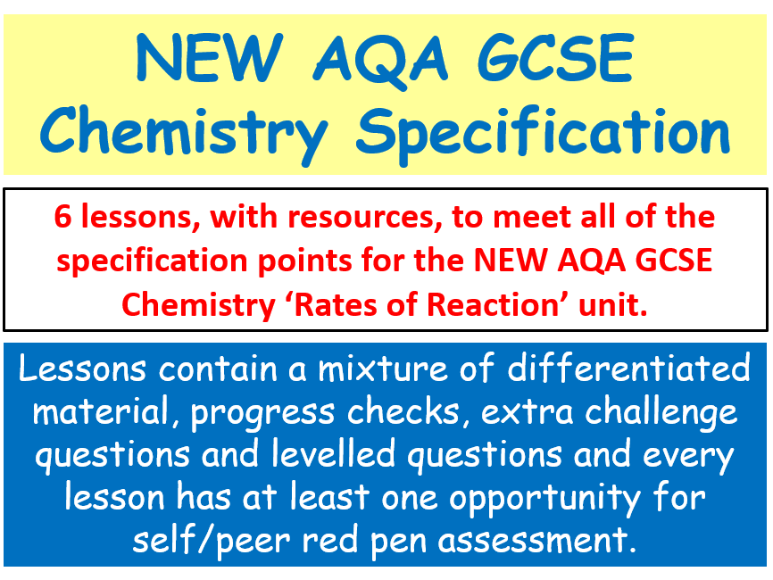 NEW AQA GCSE (2016)  Chemistry - 'Rates of Reaction' lessons