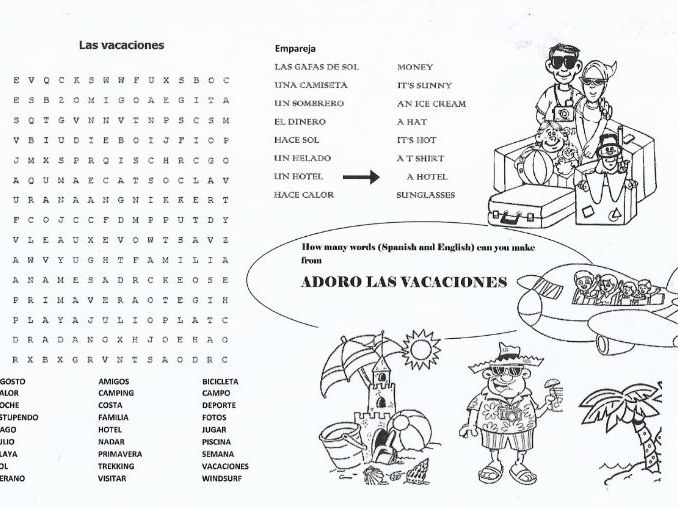Spanish Summer holiday activity sheet - great end of term activity