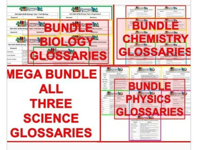 GCSE AQA Science Glossaries (Completed and Blank)