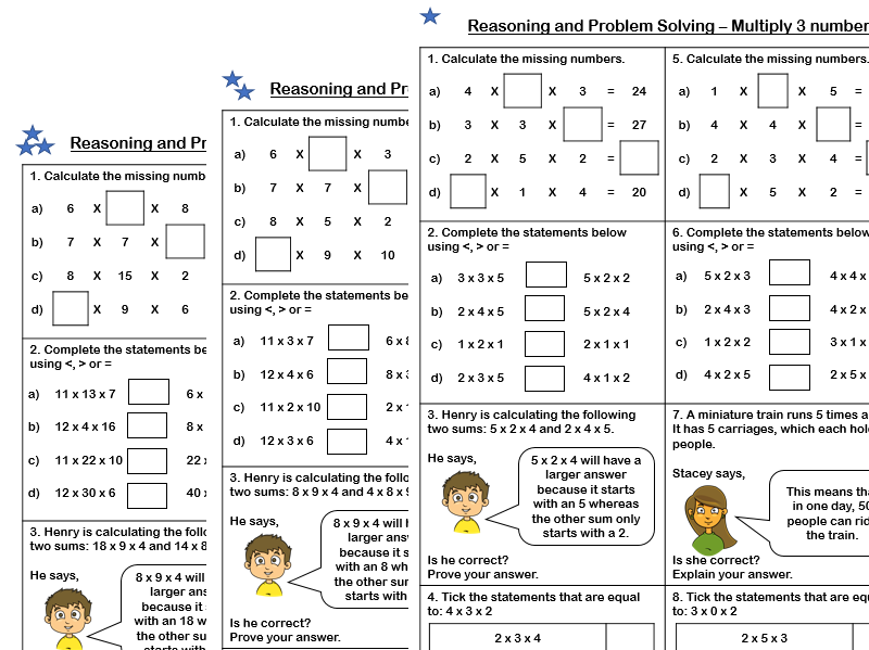 White Rose Maths - Year 4 - Spring Block 1 - Multiply 3 numbers (Problem Solving and Reasoning)