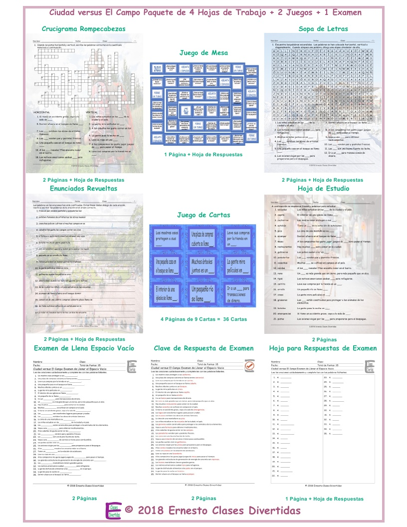 City Versus Country Spanish Crossword Puzzle By Eslfungames
