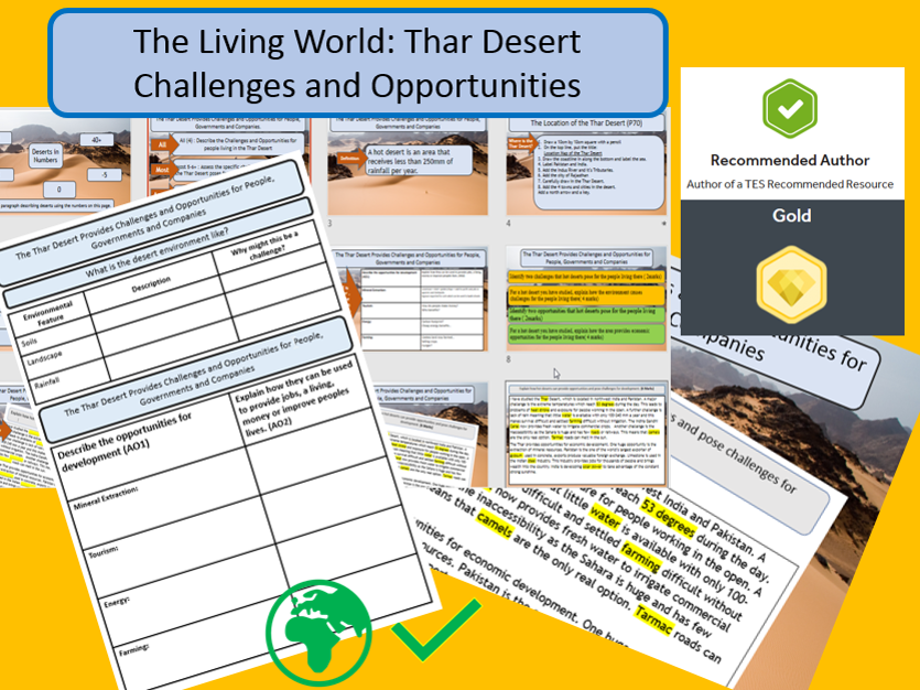 GCSE AQA 9-1 Thar Desert  - Opportunities and Challenges, full lesson and support materials.