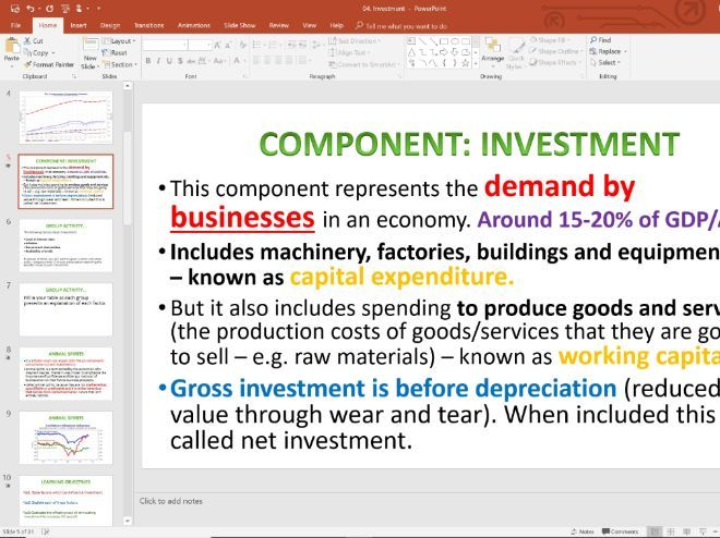 04. AD Investment (Slides, Activities and Notes) - Edexcel A-Level Economics - Theme 2