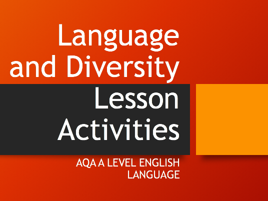 Language and Diversity Lesson Activities: theories, linguists, articles,  essay writing