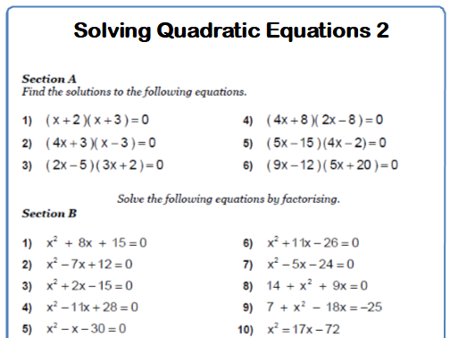 Quadratic Equations 9-1 GCSE Maths Worksheets and Answers