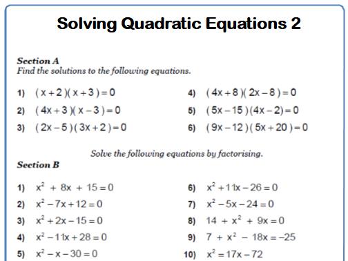 Quadratic Equations 9-1 GCSE Maths Worksheets and Answers