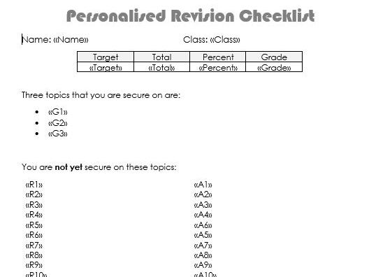 Mock Personalised Revision Checklists