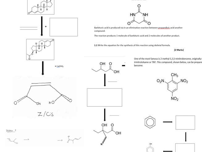A LEVEL CHEMISTRY - ORGANIC SYNTHESIS QUESTIONS