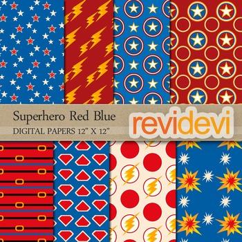 Digital papers - Superhero Red Blue
