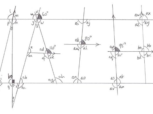 Angles using parallel lines worksheet / homework with help sheet