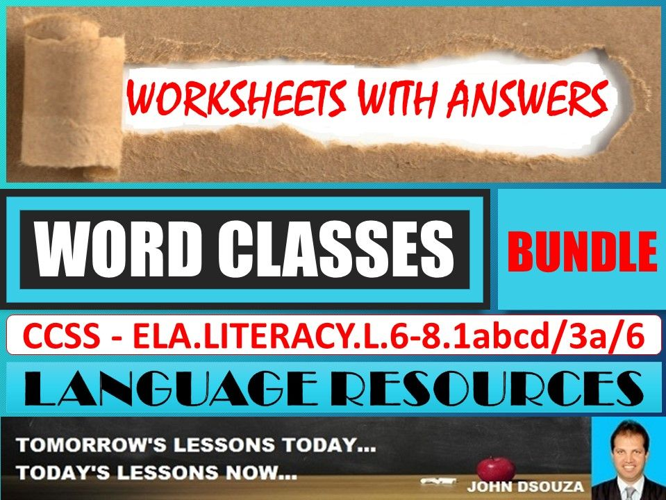 WORD CLASSES: WORKSHEETS WITH ANSWERS - BUNDLE