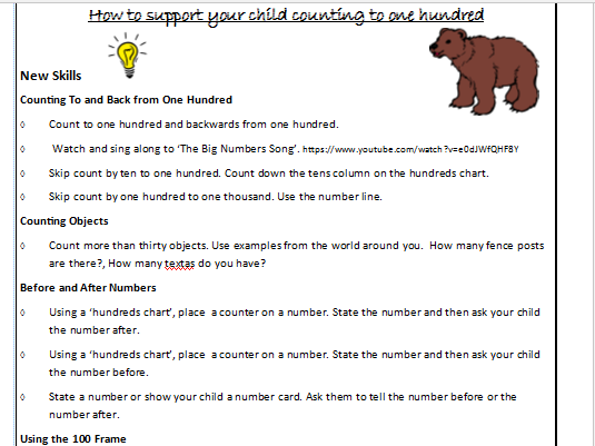 Levelled Counting and Numeral Identification Homework Cards