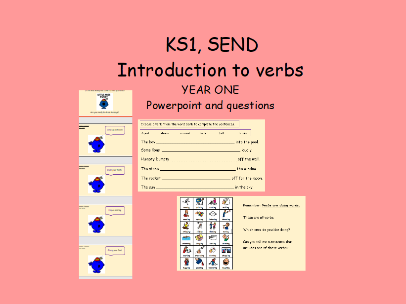Editable Introduction to verbs doing words year one key stage one