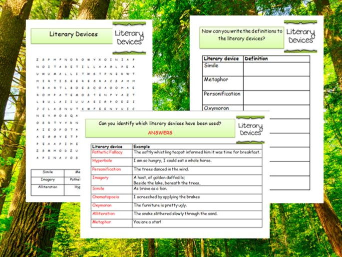 Literary devices Word Search and starter/settling/homework activities/cover work