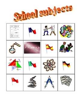 School subjects in English Bingo game
