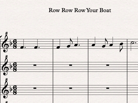 Row Row Row Your Boat - 4 Part Recorder Arrangement with Score