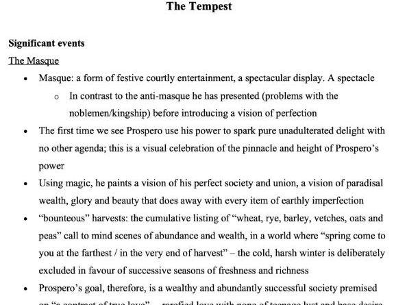 [A Level/GCSE] The Tempest Comprehensive Notes for Literature