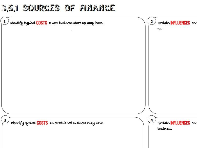 AQA GCSE Business (9-1) 3.6.1 Sources of Finance Learning Mat / Revision